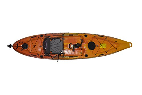 "Fishing Kayak Riot Mako 12"" ft Sit on Top Impulse Pedal Drive, Deluxe, Yellow/Orange"