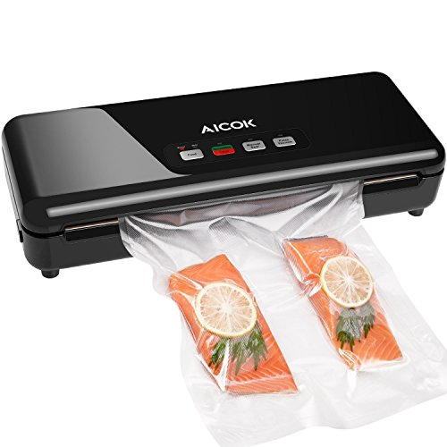 Aicok Vacuum Sealer Machine, Automatic/Manual Mode Food Vacuum Sealing System for Dry & Moist Food, 30cm Long Weld Starter Kit with 1x Foil Roll 22x300cm and Cutter, Black