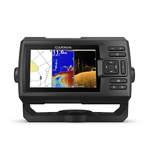 Garmin Striker 5cv with Transducer, 5″ GPS Fishfinder with Chirp Traditional and ClearVu Scanning Sonar Transducer and Built in Quickdraw Contours Mapping Software