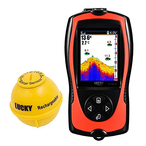 Lucky Portable Fish Finder Transducer Sonar Sensor 147 Feet Water Depth Sounder LCD Screen Echo Sounder Fishfinder Fish Attractive Lamp Ice Fishing Sea Fishing