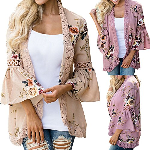 Syban Women Lace Floral Open Cape Casual Coat Loose Blouse kimono Jacket Cardigan